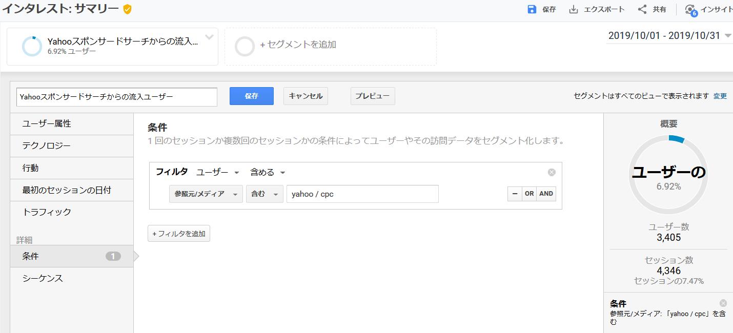 カスタムディメンションYahoo検索広告からの流入ユーザー